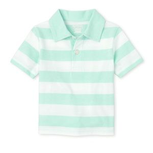 NWT PLACE Sea Green Striped Polo Shirt 18-24mo